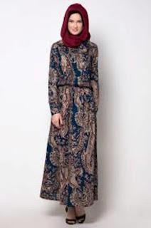 Gamis Batik Kombinasi Satin Couple