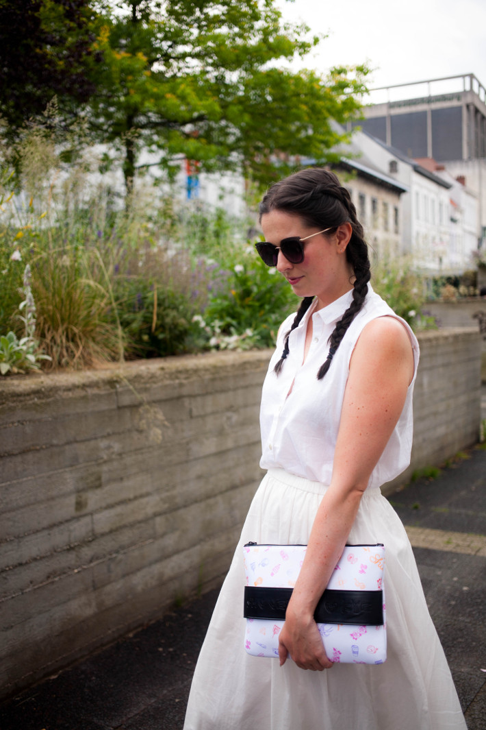 all white outfit with dutch braids