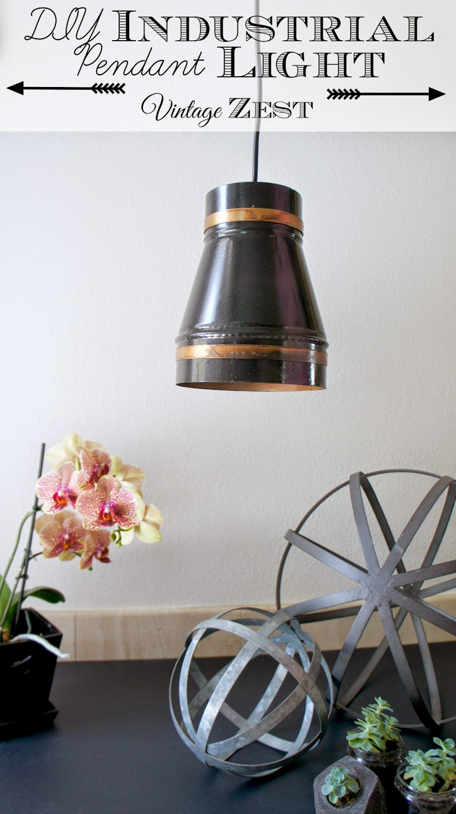 DIY Industrial Pendant Light with LED power! ~ Diane's ...