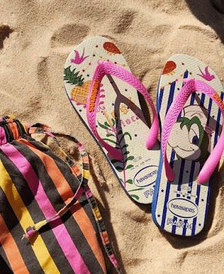 Sandálias havaianas FarmRio com tiras coloridas