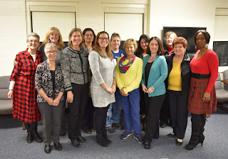 From l-r  front row, Tracy Johnson, Susan Gardner, Lauren Scribi, Exec. Dir, Women's Legislator Caucus and MCSW comm, Susan Cushing, Tina Games, Helen Bresnahan, Emerita, Marydith Tuitt MCSW Commissioner,     Second row,  Joan Walsh Freedmen, Penelope Duby, Katia Regina Dacunha, Debbie Bryant, Laura Innis, Alice Bowen  (missing from the photo, CCICSW Commissioner Liz Rabideau and Janet Joakim, Emerita)