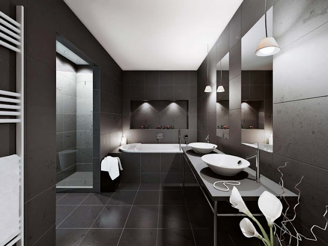 แบบห้องน้ำสีดำ ขาว