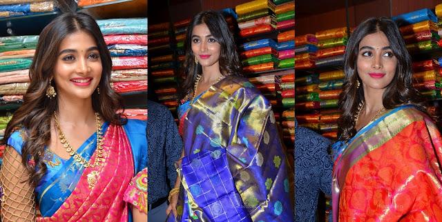 Pooja Hegde Traditional Saree Photos