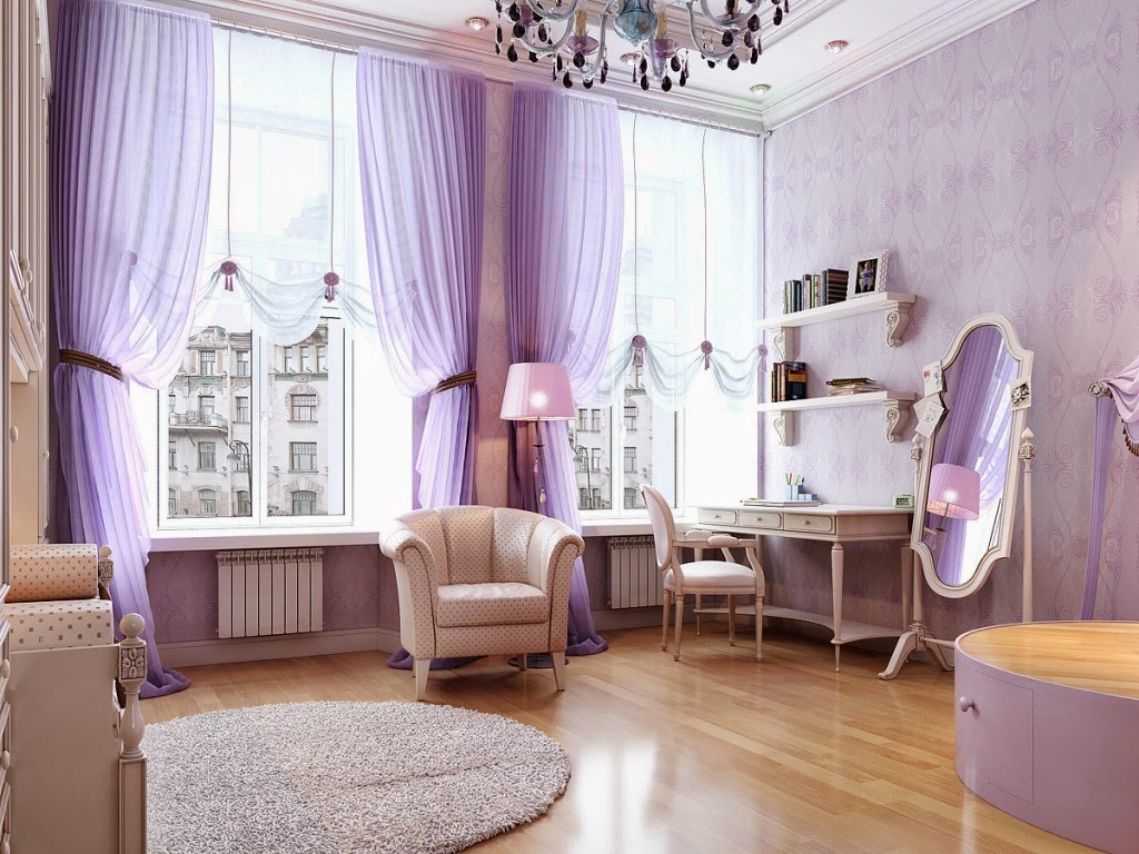 Elegant purple girls rooms
