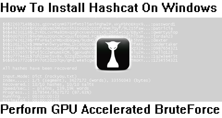 How to install hashcat on windows to perform gpu accelerated brute force attack