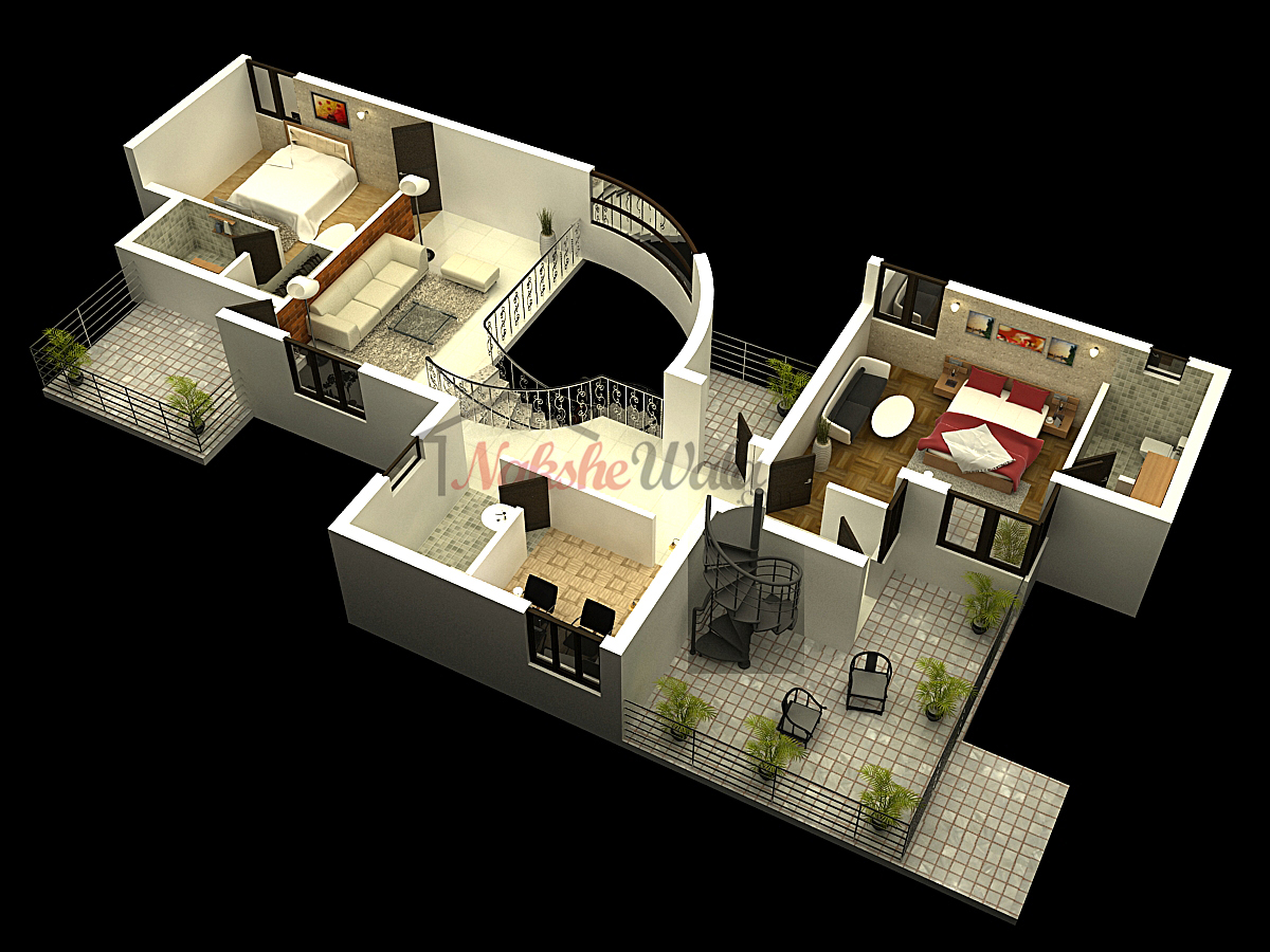 D Floor Plan Having Bhk On Each Floor With Internal Staircase And Open Terrace
