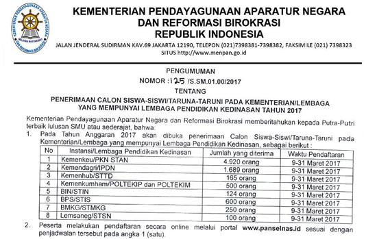 Penerimaan Pendaftaran Taruna Lembaga Pendidikan Kedinasan 2017