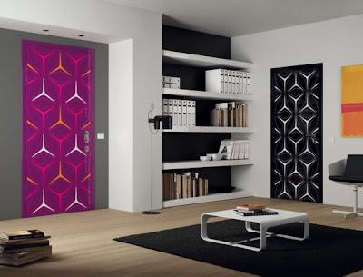Diseño de puerta negro con blanco
