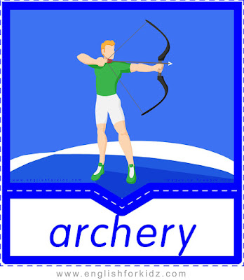 English flashcard, sports vocabulary, archery