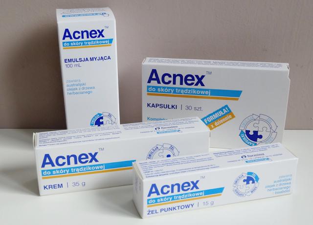 Seria Acnex - kapsułki, emulsja myjąca, krem, żel punktowy