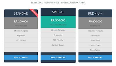 pricing table keren untuk landing page