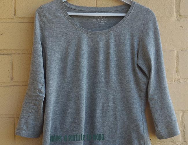 Camiseta gris de manga tres cuartos de Primark