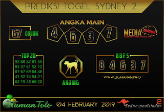 Prediksi Togel SYDNEY 2 TAMAN TOTO 04 FEBRUARI 2019