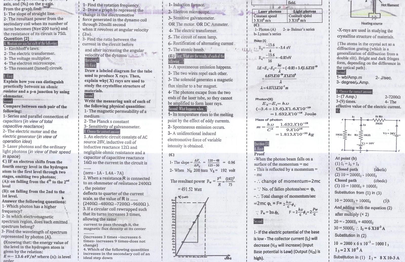 بنك توقعات الفيزياء للثانوية العامة.. ملحق الجمهورية الجزء الثاني 12