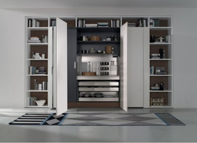 integrated hidden kitchen as a part of home library