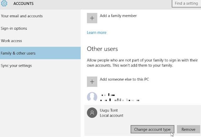 Windows 10, Paramètres, Comptes, Famille et autres personnes. Cliquez sur le nom de l'utilisateur que vous souhaitez gérer et choisissez 'Modifier le type de compte'