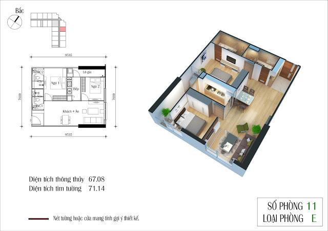 Thiết kế căn 11 tòa CT2 Eco Green City