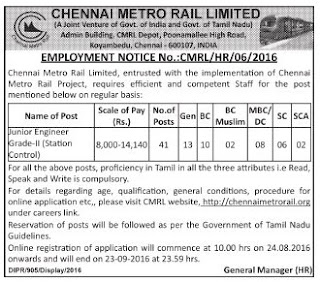 CMRL recruitment full advertisment, CMRL (Chennai Metro Rail Limited) Recruitment 2016