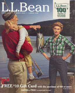 LL Bean catalog cover man fishing holding sleeping child wants woman to clean the fish