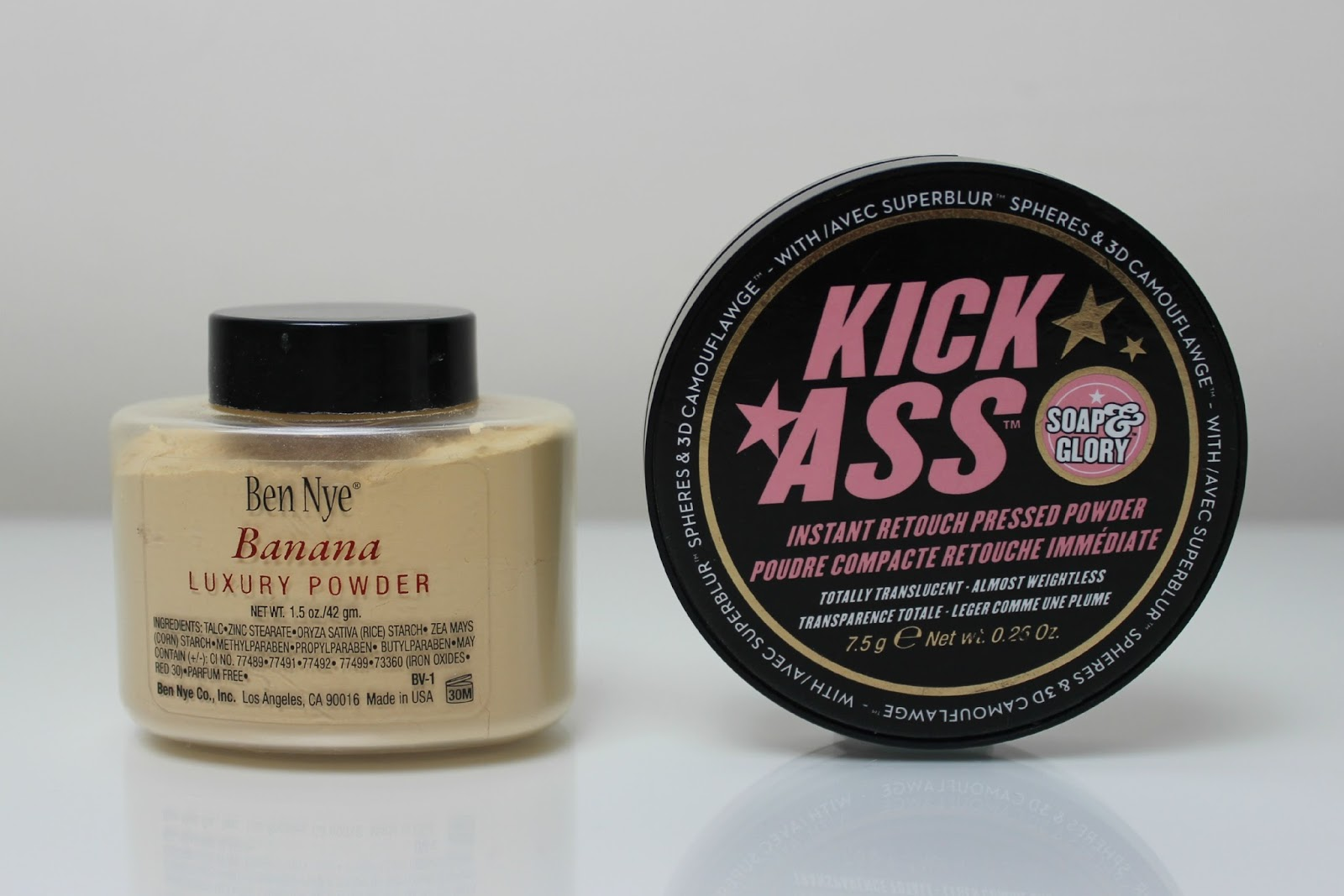 A picture of Ben Nye Banana Luxury Powder and Soap & Glory Instant Retouch Pressed Powder