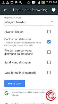 Nah langkah terakhir untuk logout bonstri atau keluar dari akun Bonstri yaitu silakan kalian hapus data browsing yang berupa Cookie dan Data Situs
