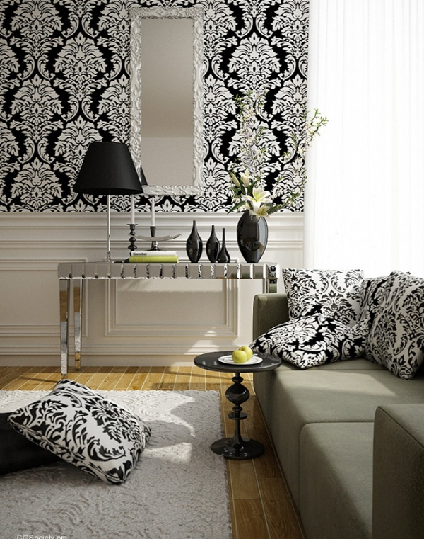 Theme inspiration going baroque home painting ideas - Living room black and white theme ...