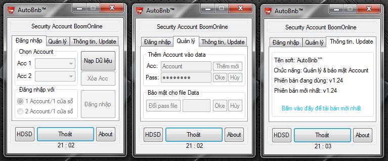 Chức năng: Quản lý và bảo mật Account game Boom Online Mặc định khi khời  động lần đầu chương trình sẽ tạo 1 file Bnb.dat ngoài desktop.