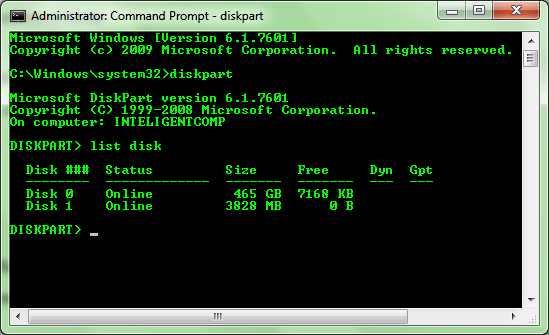 Screenshot List disk command in CMD window: Intelligent Computing