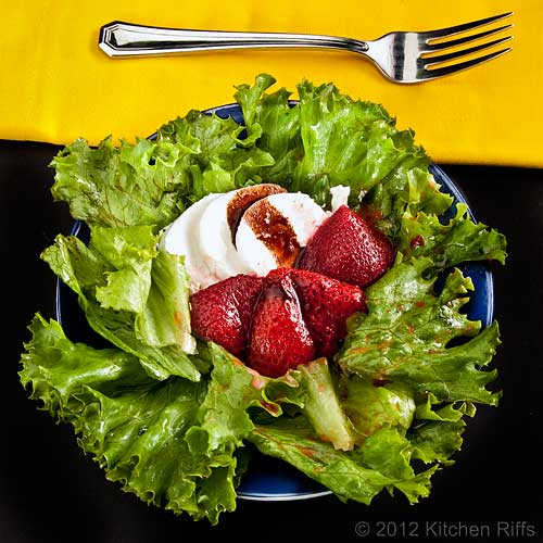 Roast Strawberry Salad with goat cheese