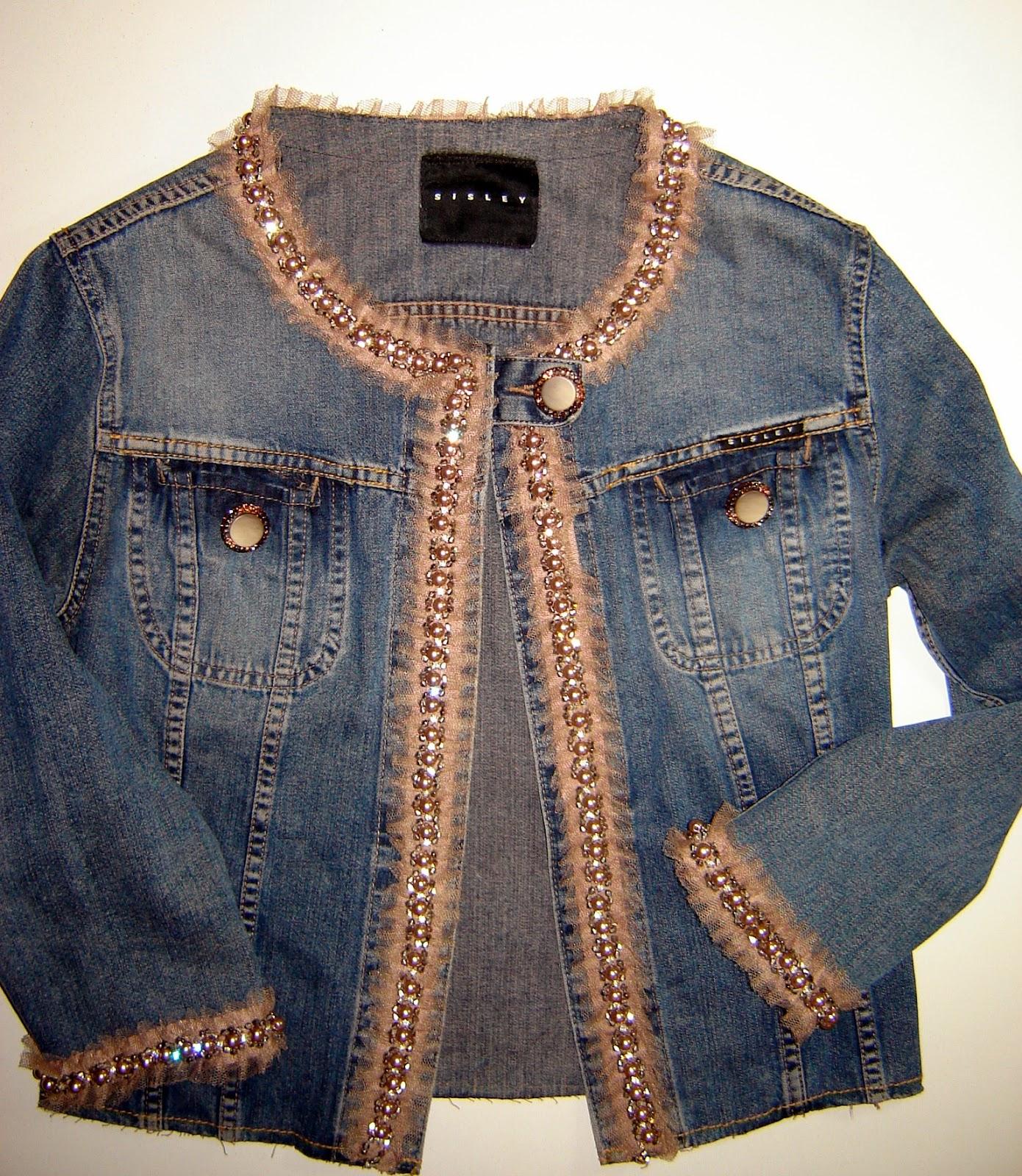 new arrivals e9aee 2d06e Taller campesino: RICICLARE: giubbino jeans con perline