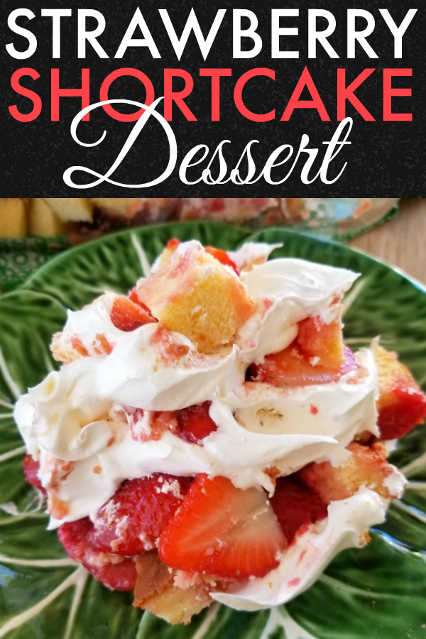 Strawberry Shortcake Dessert! An easy recipe for a Strawberry Shortcake layered dessert made in a 13x9 dish perfect for potluck dinners, cookouts or family gatherings!