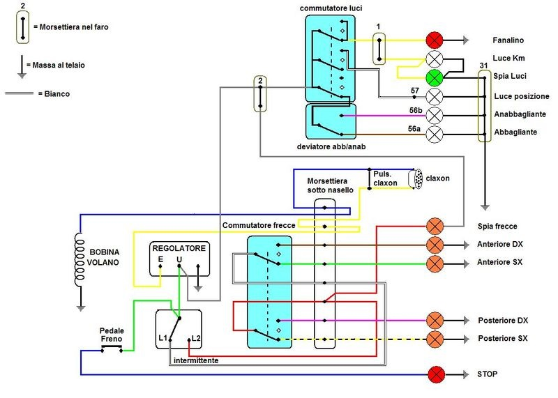 Schema Elettrico Per Deviatori Luci : Vespa e basta facciamo quot luce sull impianto elettrico del px
