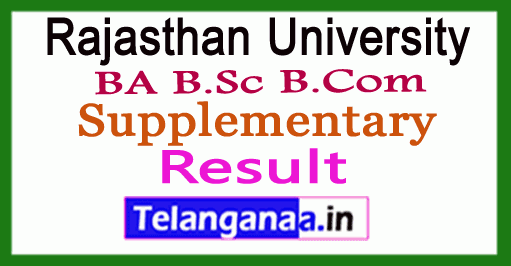 Rajasthan University BA B.Sc B.Com Supplementary Results