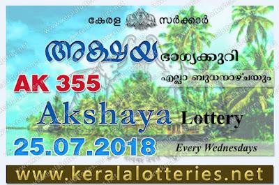 Kerala Lottery Results 25-07-2018 Akshaya AK-355 Lottery Result keralalotteries.net, Kerala Lottery, Kerala Lottery Results, Kerala Lottery Result Live, Akshaya, Akshaya Lottery Results,