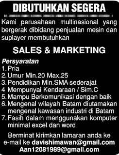 Lowongan Kerja Sales & marketing di Batam (September 2017)