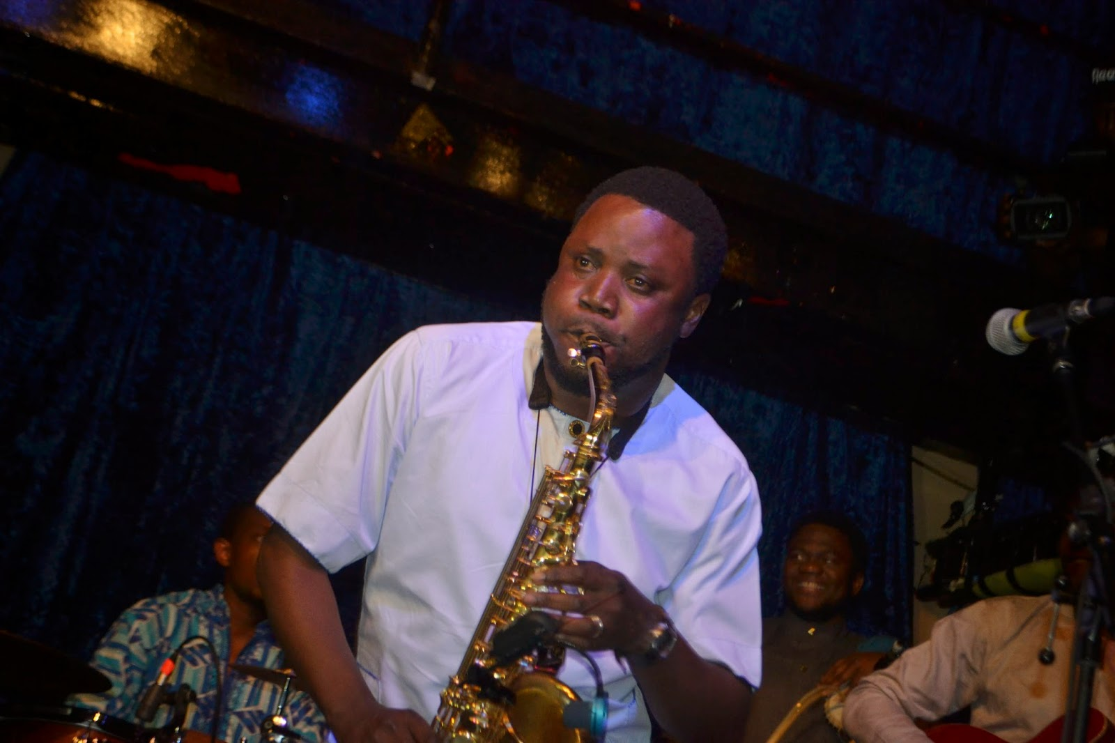Mike Aremu on his sax