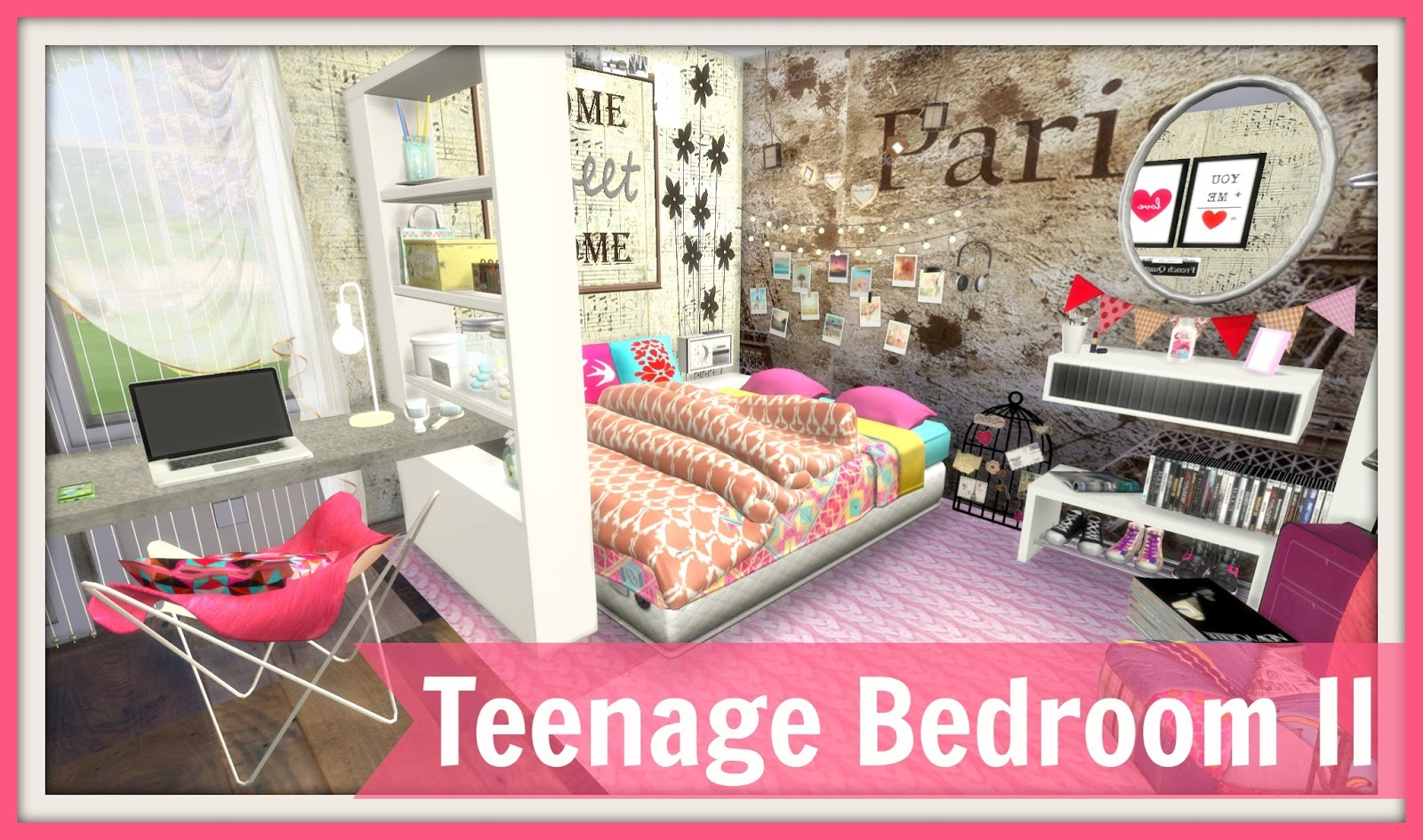 Sims 4 teenage bedroom ii dinha for Bedroom designs sims 4