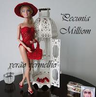PAP maiô, bolsa, chapéu e sandálias de crochê para Barbie