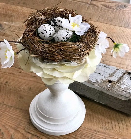 DIY Painted Candlestick Bird's Nest Spring Decor