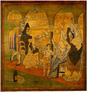 Telón dibujado por Pablo Picasso para la representación de El sombrero de tres picos de Manuel de Falla en el Alhambra Theatre de Londres