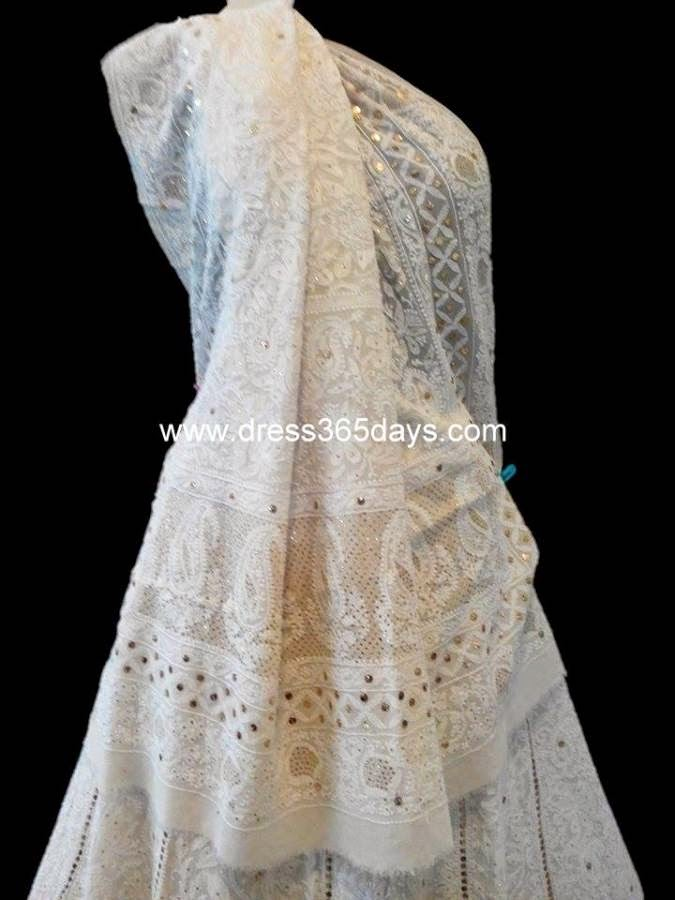 Bridal Wedding Lehenga in Chikankari
