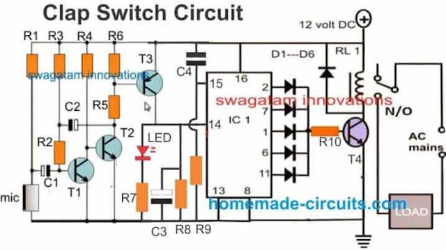 clap sensitive switch using IC 4017 circuit