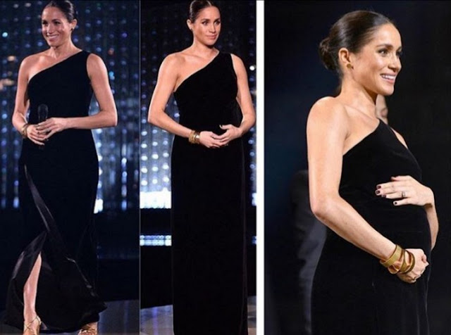 Meghan Markle Shows Off Her Growing Baby Bump in This One-Shoulder Givenchy Black Dress.