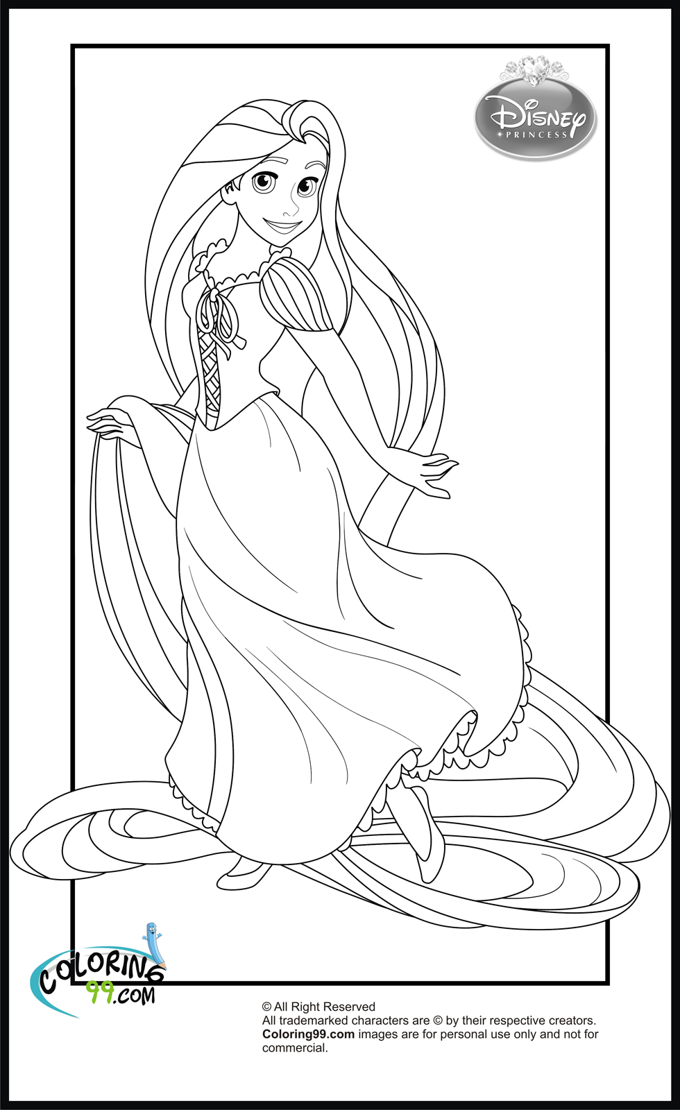 Disney princess coloring pages team colors for Disney princess rapunzel coloring pages