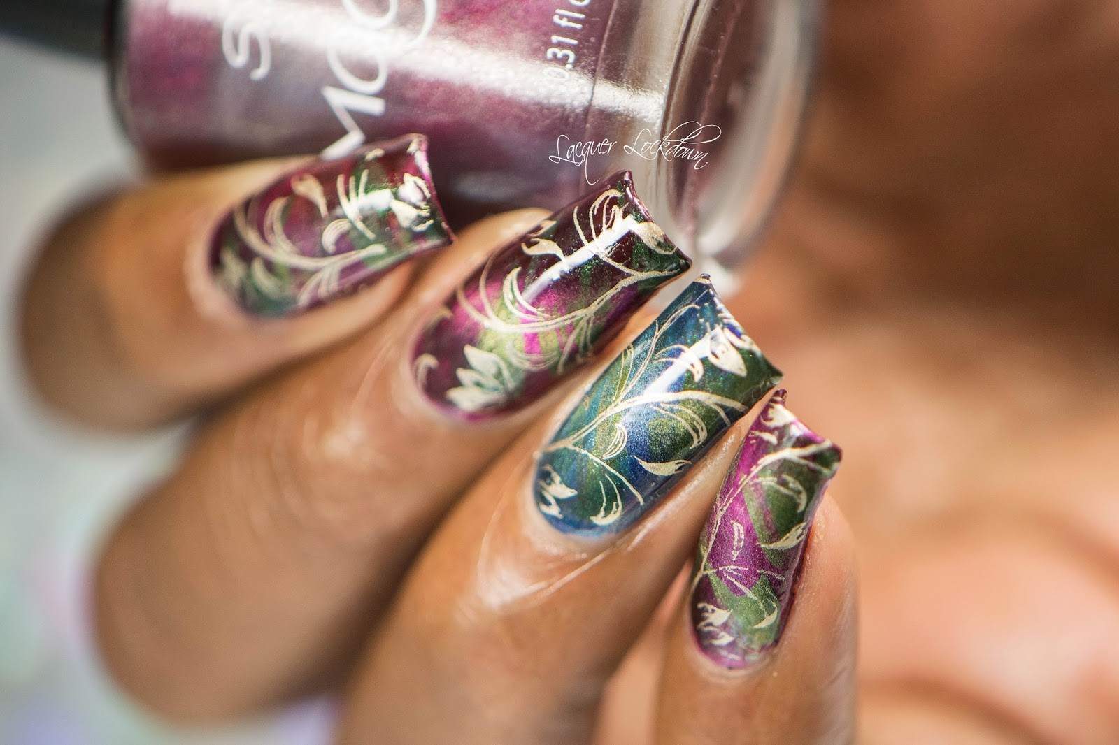 Lacquer Lockdown: Rasberries, Greeens, & Golds Magnetic Floral Nail ...