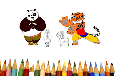 How to Drawing & Coloring For Kids | Kung fu Panda vs Tigeress | Teach Pages For Children