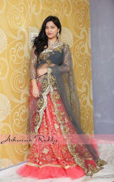 Ashwini Reddy Peach Half Saree