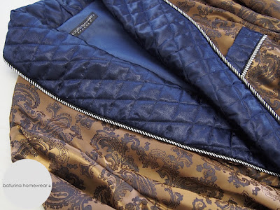 mens housecoat luxury dress robe dressing gown long classic bespoke tailored english gentleman quilted lapel shawl collar blue gold paisley