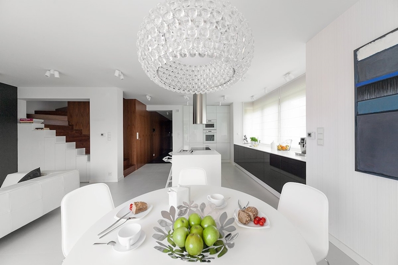 Modern dining room and kitchen