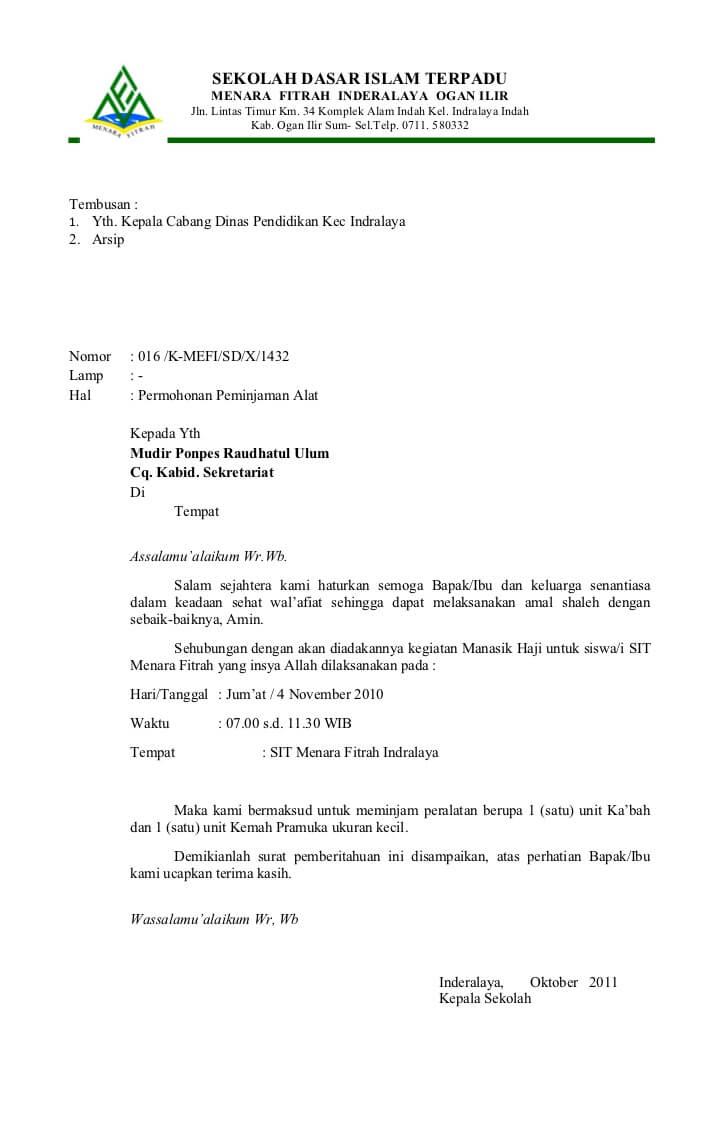 contoh surat resmi sekolah dasar